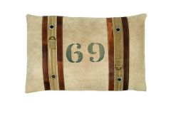 '69' Vintage Cushion with leather