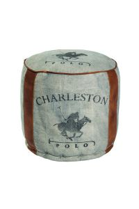 Charleston Vintage Pouffe with leather